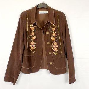 Vintage Bohemian Corduroy Embroidered Jacket